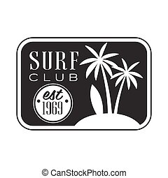 Surf club, est 1969 logo template, black and white vector...