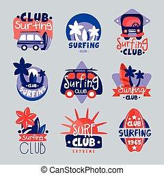 Surf club logo templates set, surfing club emblem, windsurfing badge collection