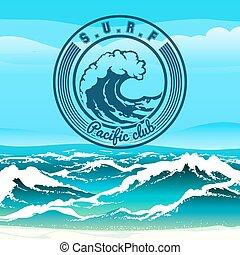 Surf Club - Surf club logo or emblem against stormy tropical...