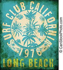 Surf Club Tropical graphic with typography design