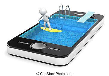 surf, con, su, elegante, teléfono.