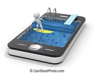 surf, con, su, teléfono móvil