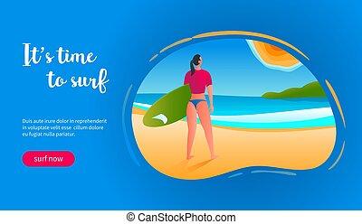 surf, concetto, tempo
