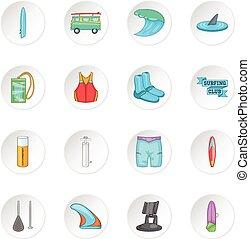 surf, conjunto, iconos