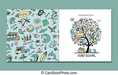 surf, disegno, cartolina auguri, scuola