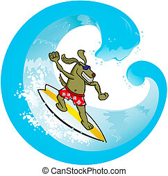 Surf Dog - Vector illustration of a dog surfing the wave