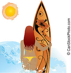 surf, donna, spiaggia