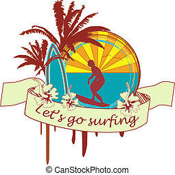 Illustration of a person surfing under some palm trees.