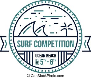 Surf emblem - Round surfing wave emblem abstract illustrated...