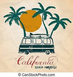 surf, estate, autobus, illustrazione, vettore, palmizi, bord, retro