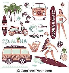 surf, estate, stile, set, hippie, hawaiano, icone, vendemmia, ragazza