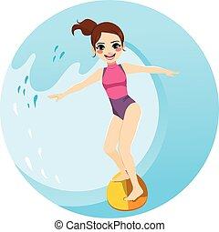 surf femme, vague