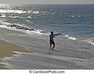 Surf Fisherman - Silhouette of a surf fisherman in Cabo San...