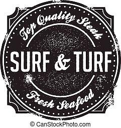 surf, francobollo, torba, menu, classico