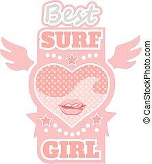 Surf girl typography, t-shirt graphics, vectors