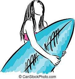 surf girl with surfboard vector illustration