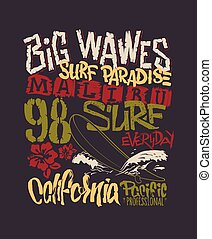 Surf graphic. T-shirt Printing. Lettering Vector Design