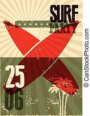 surf, grunge, illustration., manifesto, eps, tipografico, vettore, retro, festa, 10., spiaggia, design.