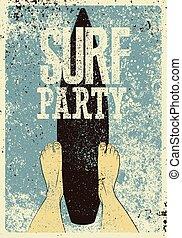 surf, grunge, illustration., manifesto, tipografico, vettore, retro, vendemmia, festa, design.