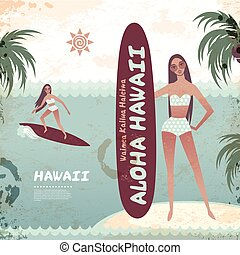 surf, hawaiano, vendemmia, isola, ragazza, bandiera