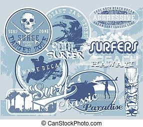 surf hawaii wave - surfing vector illustration for shirt ...