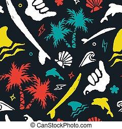 Surf icon background art in grunge surfer style - Surf...