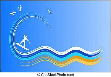 Surf Icon Vector - Vector illustration of a surf abstract.