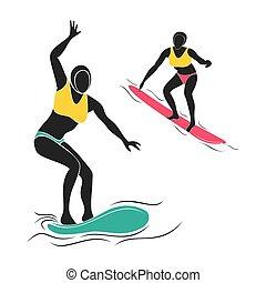 surf, jugador, diseño