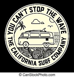 Surf label with van and surf elements