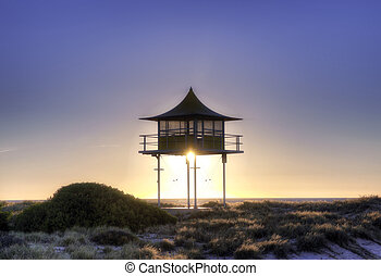 surf life savers lookout sunset - sunset behind surf life...