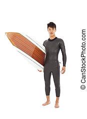 surf, llevó, traje, tabla, tenencia, mojado, hombre