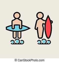 Surf logo or emblem design for toilet.