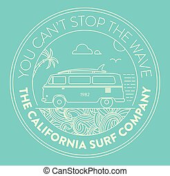 Surf logo with van and surf elements