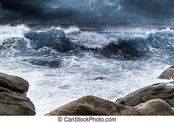 surf, oceano, temporale, fondo, roccia