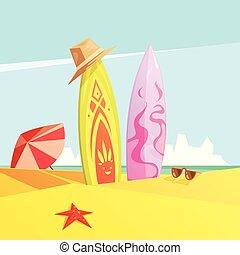 Surf On Sand Retro Illustration