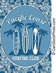 surf, pacífico, club., costa