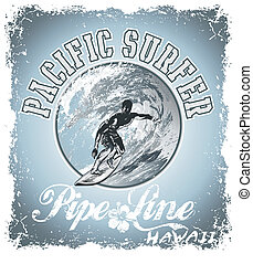 surf pacific - illustration for shirt printed and poster