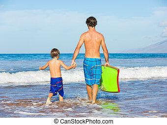 surf, padre, hawai, juntos, hijo, tropical, yendo, playa
