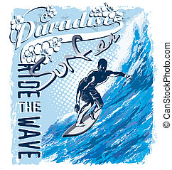 surf paradise wave - surfing vector illustration for shirt...