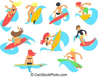 Surf people characters with surfboard riding waves set, cartoon vector Illustrations on a white background