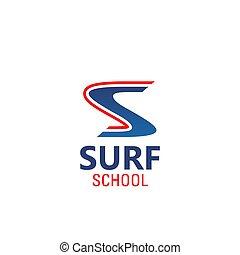 Surf school vector emblem - Surf school vector sign....