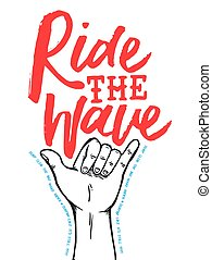 Surf shop poster quote with hand drawn shaka sign - Surf...