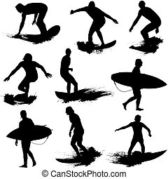 Surf Silhouettes - Vector illustration of surf. Splash...