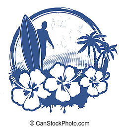 Surf stamp with grunge summer background, vector illustration