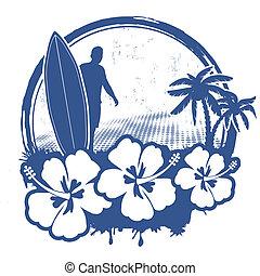 Surf stamp with grunge summer background, vector...