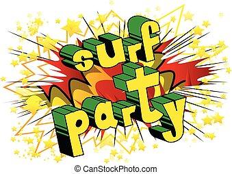 surf, stile, word., -, libro, festa, comico