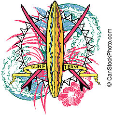 Surf Team - Colorful, surf design, back ground, vector team...
