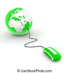 green translucent computer mouse connected to a green glossy globe