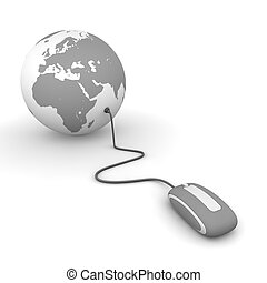 Surf the World - Grey - grey computer mouse connected to a...
