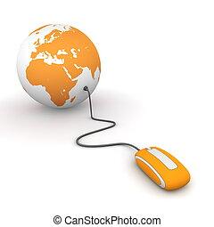 Surf the World - Orange - modern orange computer mouse...
